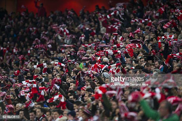 The Atletic Bilbao fans cheer on their team during the Copa del Rey Round of 16 first leg match between Athletic Club and FC Barcelona at San Mames...