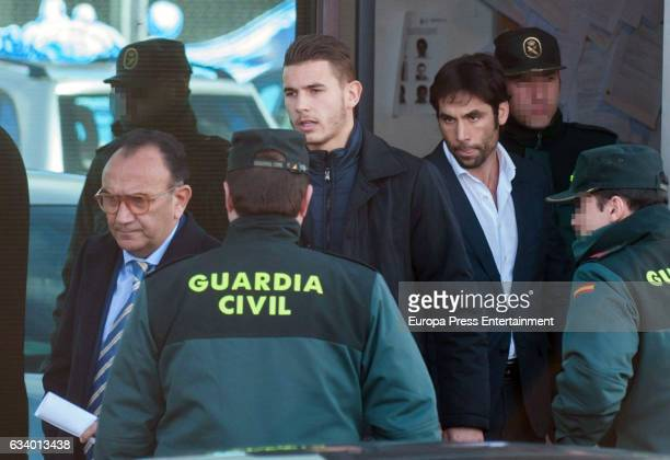 The Atletico Madrid defender the French U21 player Lucas Hernandez and his gilfriend leave court on suspicion of having assaulted each other on...