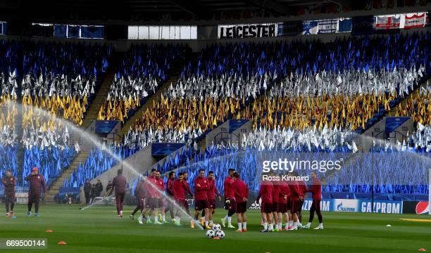 The Atletico Madrid squad pictured during a training session at The King Power Stadium prior to their Champions League match on April 17 2017 in...