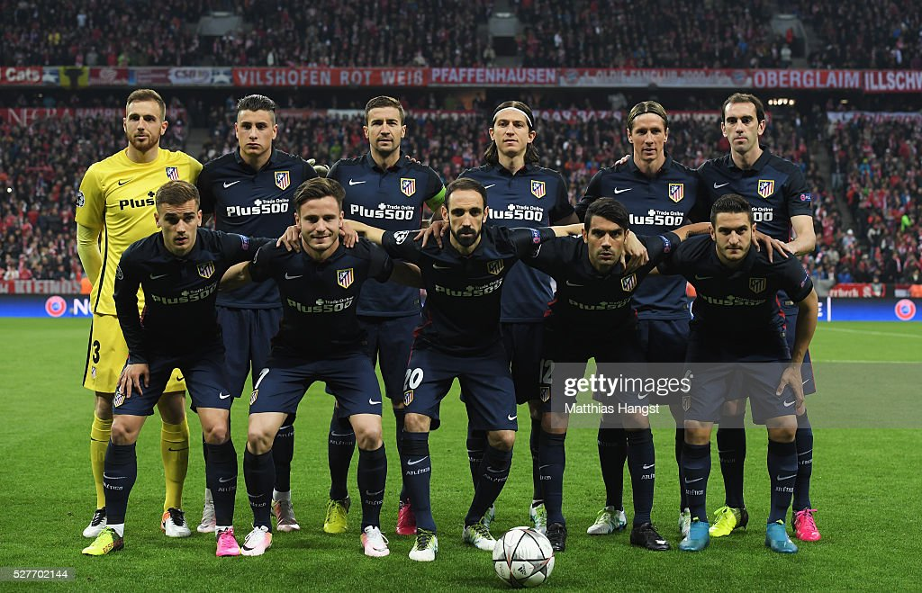 The Atletico Madrid team line up prior to UEFA Champions League semi final second leg match between FC Bayern Muenchen and Club Atletico de Madrid at Allianz Arena on May 3, 2016 in Munich, Germany.
