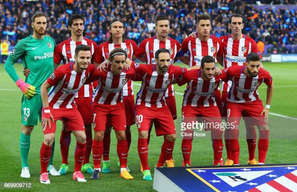 The Atletico Madrid team pose for a team photo prior to the UEFA Champions League Quarter Final second leg match between Leicester City and Club...