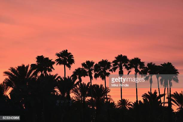 The atmosphere at sunset during day 1 of the 2016 Coachella Valley Music Arts Festival Weekend 2 at the Empire Polo Club on April 22 2016 in Indio...