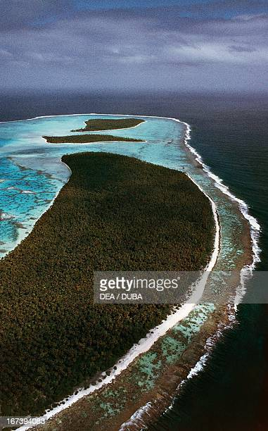 The atoll of Tetiaroa to the north of Tahiti Society Islands French Polynesia Aerial view