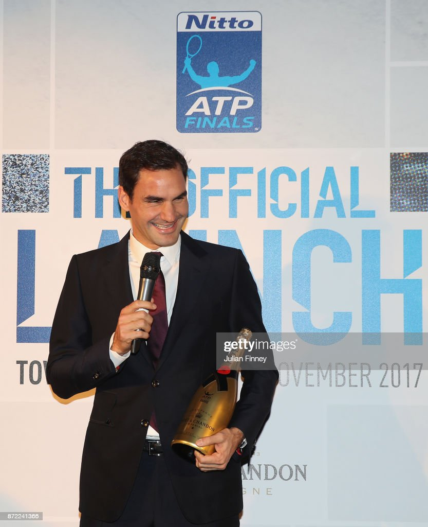The ATPWorldtour.com Fans' Favourite Player of the Year, Presented by Moet & Chandon, The Stefan Edberg Sportsmanship Award and the The Comeback Player of the Year goes to Roger Federer of Switzerland during the The Official Launch ATP Finals at Tower of London on November 9, 2017 in London, England.