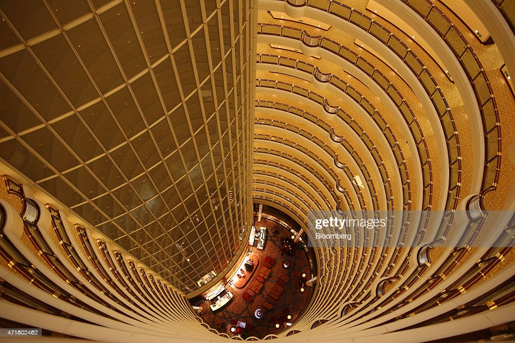 The atrium is seen inside the Jin Mao Tower in Shanghai China on Saturday April 25 2015 Yuan forwards headed for their best month since 2012 on bets...