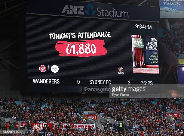 The attendance figure is shown during the round one ALeague match between the Western Sydney Wanderers and Sydney FC at ANZ Stadium on October 8 2016...