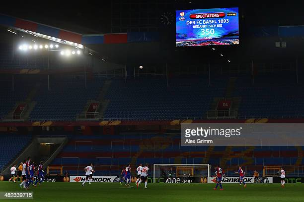 The attendence of 350 spectators is shown on the video screen during the UEFA Europa League Quarter Final first leg match between FC Basel 1893 and...