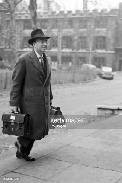 The Attorney General Sir Hartley Shawcross arriving at the Inquiry into allegations of corruption among British government ministers and civil...