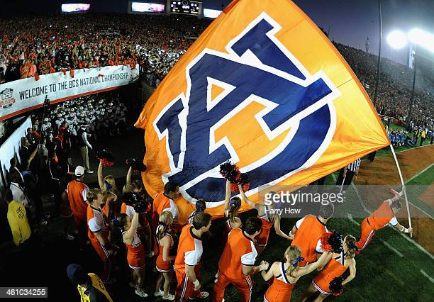 The Auburn Tigers take the field prior to the 2014 Vizio BCS National Championship Game against the Florida State Seminoles at the Rose Bowl on...