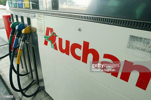 The Auchan logo is shown January 13 in Plaisir Paris An automatic distributor is seen at a French supremarket Gasstation