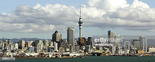 The Auckland CBD city skyline including the Sky Tower as seen from North head on the North Shore Auckland New Zealand Wednesday May 26 2004