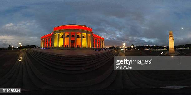 The Auckland Museum is lit up at the Auckland Lantern Festival in the Auckland Domain on February 18 2016 in Auckland New Zealand The four day...