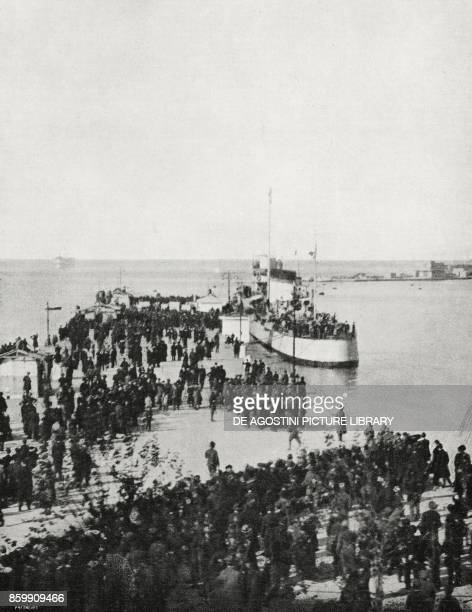 The Audace ship with on board the King of Italy Vittorio Emanuele III landing at the San Carlo Pier Trieste Italy World War I from l'Illustrazione...