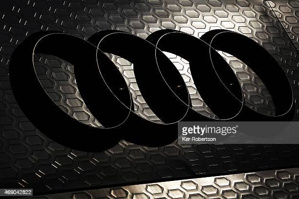 The Audi 4 ring logo is seen on their hospitality unit during previews to the FIA World Endurance Championship 6 Hours of Silverstone at Silverstone...