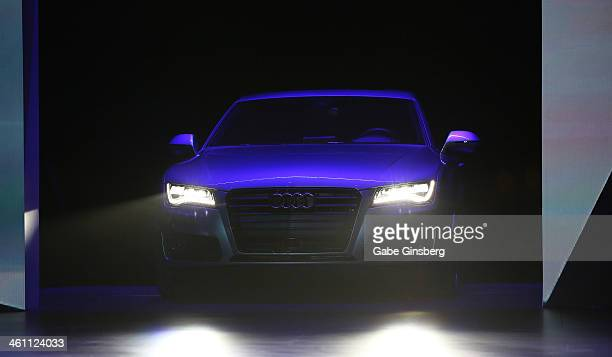 The Audi A7 Autonomous pulls onto stage unmanned at the 2014 AUDI CES Keynote presentation at The Chelsea at The Cosmopolitan of Las Vegas on January...