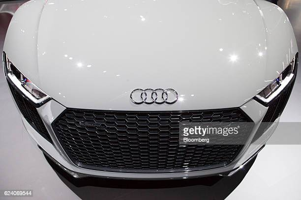 The Audi AG logo badge is displayed on the hood of the R8 V10 Plus sports vehicle during Automobility LA ahead of the Los Angeles Auto Show in Los...