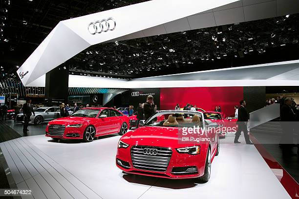 DETROIT MI The Audi exhibit is shown at the 2016 North American International Auto Show January 12th 2016 in Detroit Michigan The NAIAS runs from...