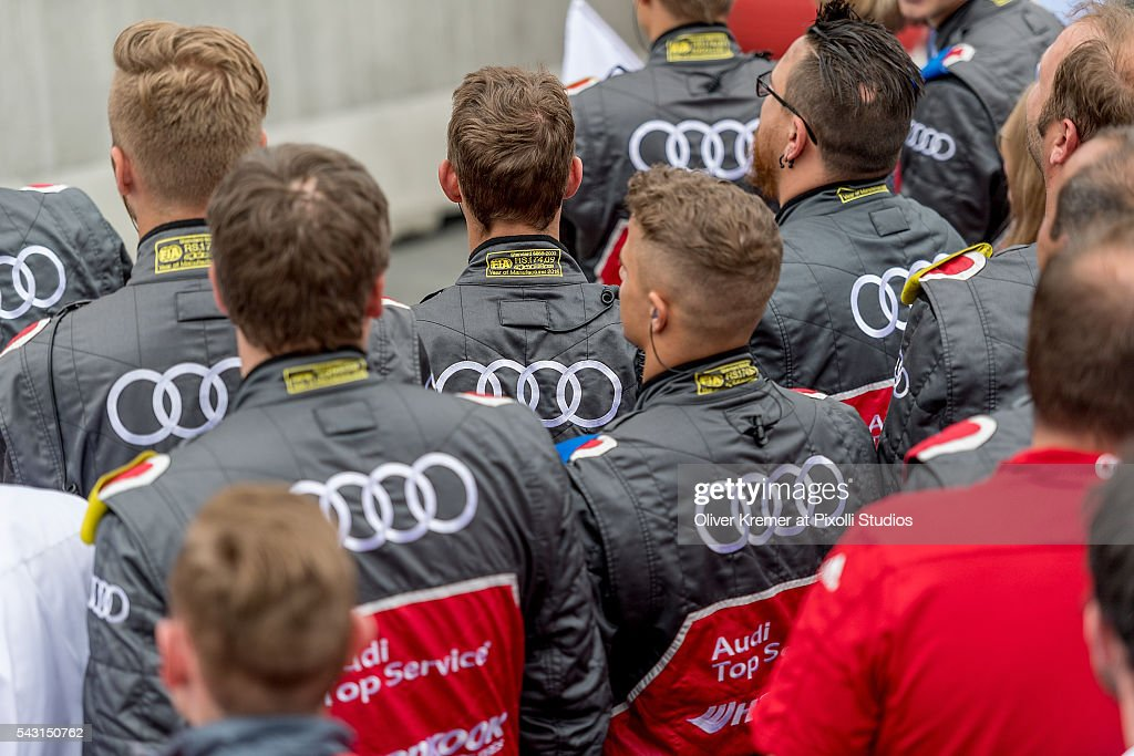 The Audi Mechanic Teams watching the Podium after the German Touring Car Championship race at the Norisring during Day 2 of the 74. International ADAC Norisring Speedweekend on June 26, 2016 in Nuremberg, Germany.