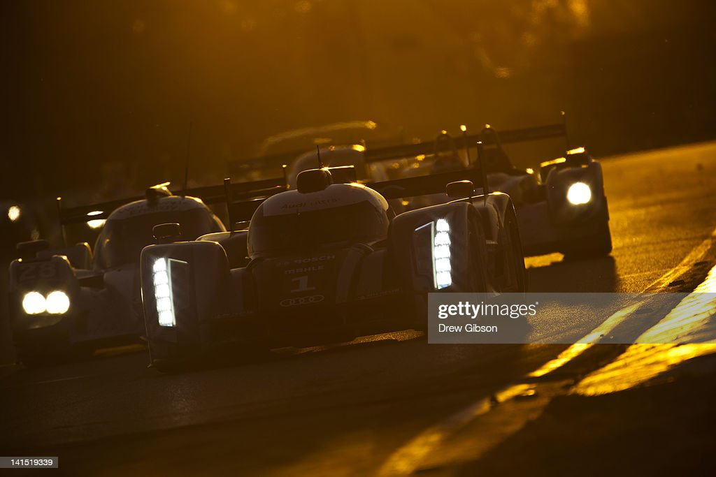 The Audi Sport Team Joest Audi R18 driven by <a gi-track='captionPersonalityLinkClicked' href=/galleries/search?phrase=Andre+Lotterer&family=editorial&specificpeople=2380096 ng-click='$event.stopPropagation()'>Andre Lotterer</a> of Germany, <a gi-track='captionPersonalityLinkClicked' href=/galleries/search?phrase=Benoit+Treluyer&family=editorial&specificpeople=4333474 ng-click='$event.stopPropagation()'>Benoit Treluyer</a> of France and Marcel Fassler of Switzerland during the 2012 World Endurance Championship 12 Hours Of Sebring at Sebring International Raceway on March 17, 2012 in Sebring, Florida.