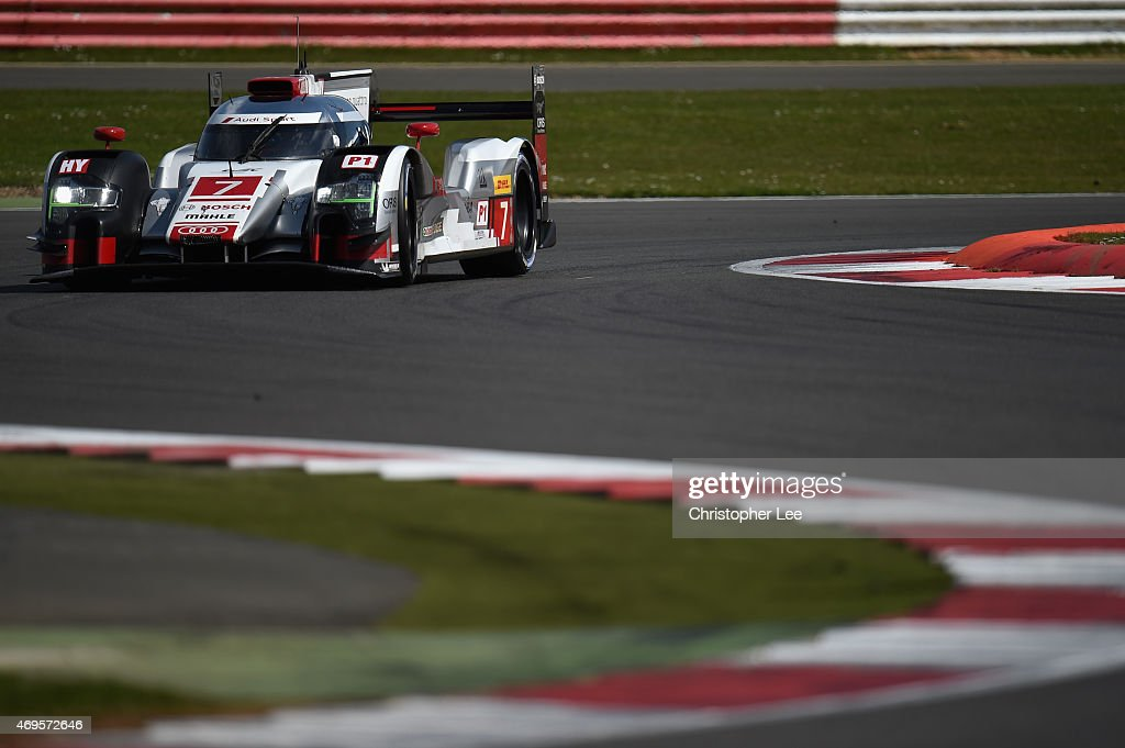 The Audi Sport Team Joest car of Marcel Fassler of Switzerland, <a gi-track='captionPersonalityLinkClicked' href=/galleries/search?phrase=Andre+Lotterer&family=editorial&specificpeople=2380096 ng-click='$event.stopPropagation()'>Andre Lotterer</a> of Germany and <a gi-track='captionPersonalityLinkClicked' href=/galleries/search?phrase=Benoit+Treluyer&family=editorial&specificpeople=4333474 ng-click='$event.stopPropagation()'>Benoit Treluyer</a> of France in action during the FIA World Endurance Championship 6 Hours of Silverstone race at Silverstone on April 12, 2015 in Northampton, England.
