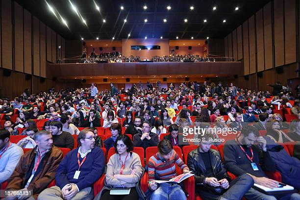 The audience attends Director Spike Jonze Meets The Audience during the 8th Rome Film Festival at the Auditorium Parco Della Musica on November 11...