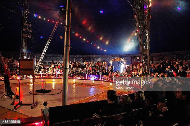 The audience begins to fill up inside the Big Top tent before the afternoon performance of Mr Fips' Wonder Circus on April 7 2014 in Huntingdon...