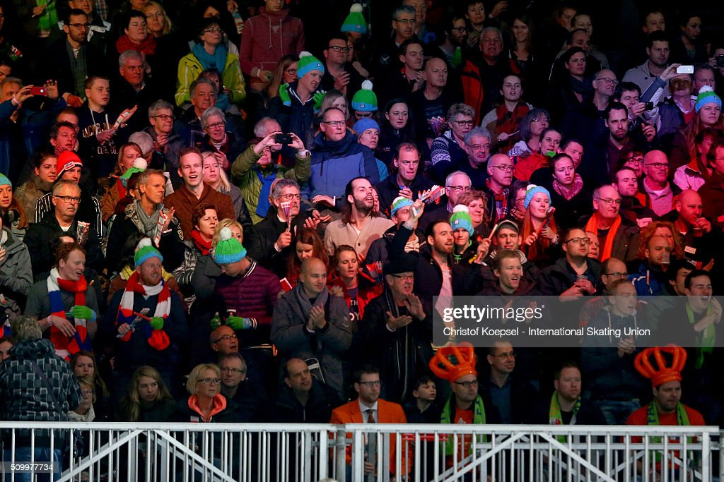 The audience celebrates during the ladies 1500m final A during Day 2 of ISU Short Track World Cup at Sportboulevard on February 13, 2016 in Dordrecht, Netherlands.