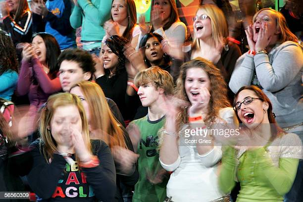 The audience cheers during MTV's Total Request Live at the MTV Times Square Studios on January 10 2006 in New York City