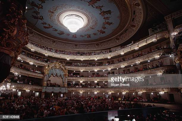 The audience for a performance at the ornately decorative Mariisky theater Many of Tchaikovsky's ballets were originally premiered here and they...