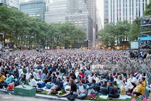 The audience listen as they sit at AOL Time Warner Presents 'Broadway Under The Stars' A free concert in Bryant Park June 16 2003 in New York City