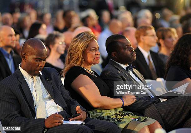 The audience listens as civil rights icon Rep John Lewis make remarks after receiving the 2016 Liberty Medal at the National Constitution Center...