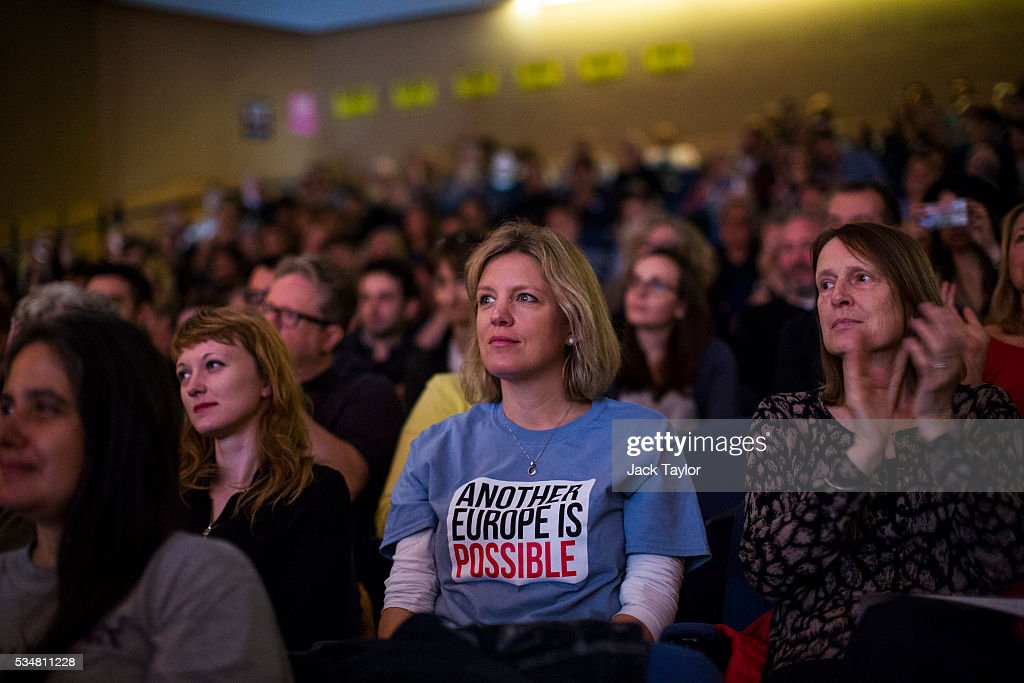 The audience listens to a speaker at a Diem25 event at The UCL, Institute of Education on May 28, 2016 in London, England. Left-wing politicians and thinkers were today campaigning at the DiEM25 event to stay in the European Union ahead of the EU referendum on the 23rd of June.