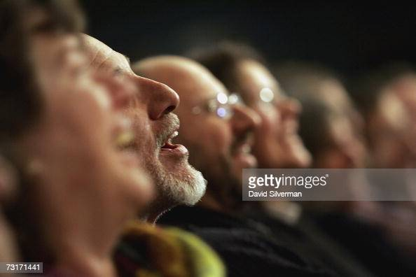 The audience reacts to the humour of PalestinianAmerican standup comedian Ray Hanania from Chicago as he performs during the final show of the...