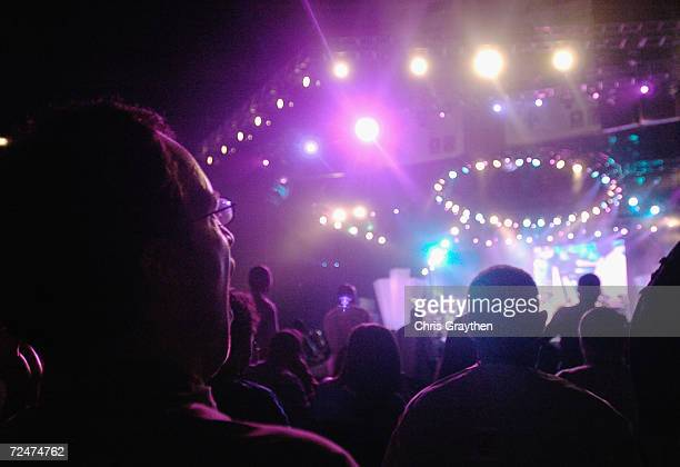 The audience watches Maze featuring Frankie Beverly as they perform at the 10th Anniversary Essence Music Festival at the Superdome on July 4 2004 in...