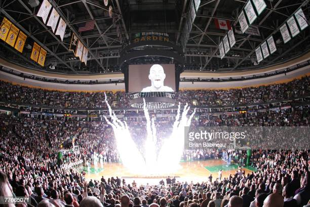 The audience watches the Boston Celtics opening night fireworks display before the game against the Washington Wizards at the TD Banknorth Garden...