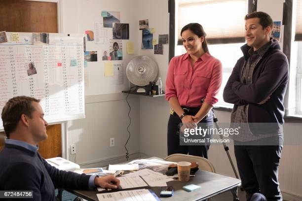 NINE 'The Audit' Episode 413 Pictured Kyle Bornheimer as Teddy Wells Melissa Fumero as Amy Santiago Andy Samberg as Jake Peralta