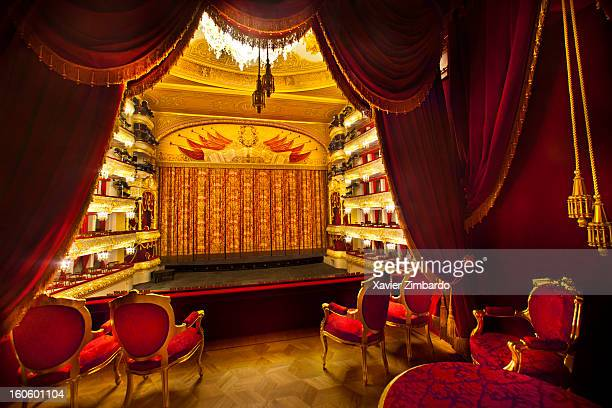 The auditorium and theater curtain seen from the Imperial Theatre Box in the Bolshoi Ballet Theater on September 22 2011 in Moscow Russia