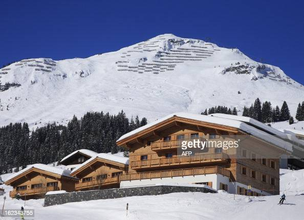 The Aurelio luxury hotel is seen in Lech am Arlberg western Austria on a clear day February 18 2013 The famous ski resort of Lech is located in the...