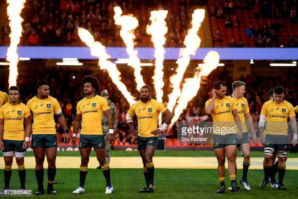 The Austalia team look on prior to the Under Armour Series match between Wales and Australia at Principality Stadium on November 11 2017 in Cardiff...