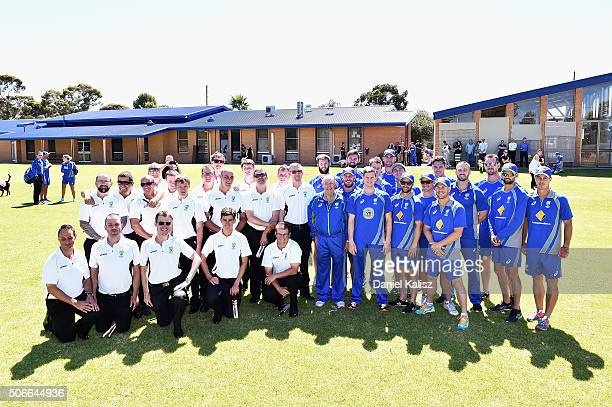 The Austaralian Blind Cricket team and the Australian T20 International Team pose for a photo during a training session at Gilles Field on January 25...