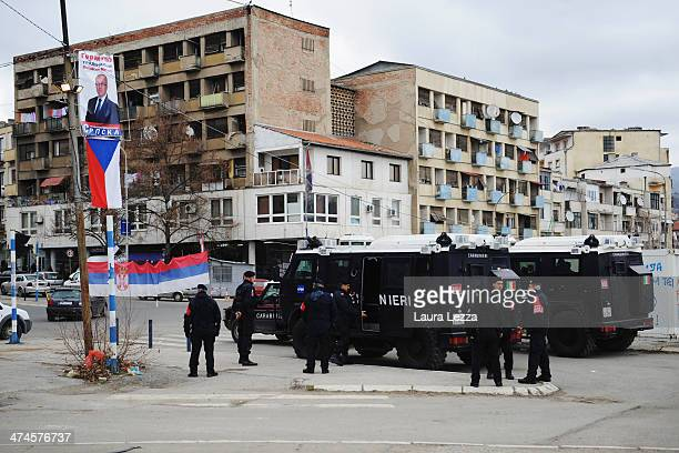 The Austerlitz Bridge with Italian Carabinieri monitoring the area during the elections day in Mitrovica North to elect the Mayor on February 23 2014...