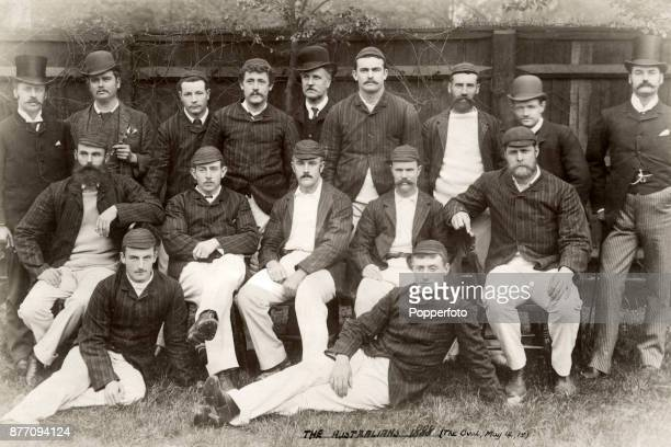 The Australia cricket team prior to their match against Surrey at the Oval in London on 14th May 1888 Australia won by an innings and 154 runs Left...