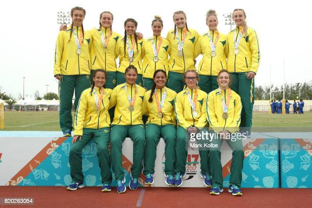 The Australia girls team celebrate with their gold medals after victory in the Girl's Rugby 7's Final on day 4 of the 2017 Youth Commonwealth Games...