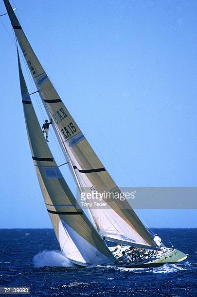 The Australia Kookaburra III in action against Stars and Stripes of the USA during the America's Cup in Fremantle 1993 in Perth Australia
