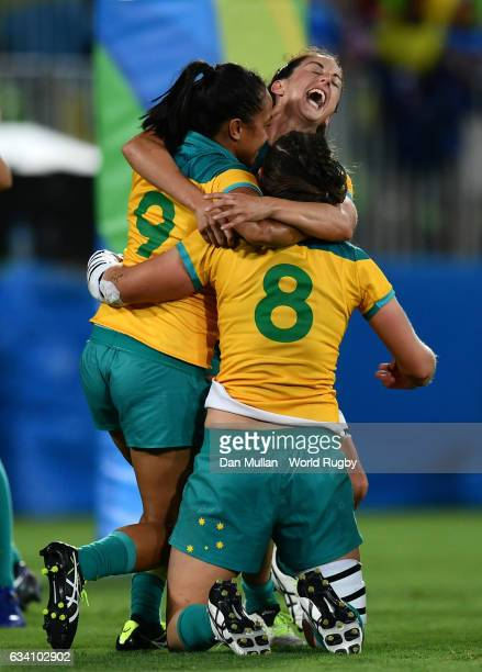 The Australia players celebrate at the final whistle during the Women's Rugby Sevens Gold Medal match between Australia and New Zealand on day 3 of...
