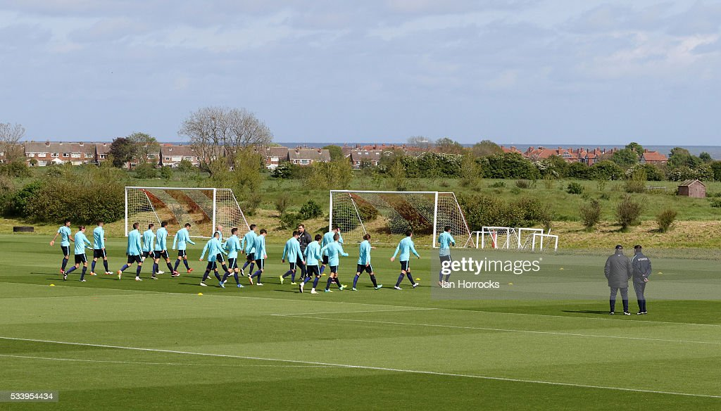 The Australia players warm up during a Australia National football team training session at The Academy of Light on May 24, 2016 in Sunderland, England.