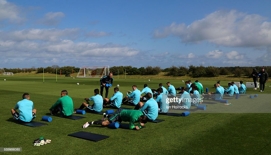 The Australia players warm up during an Australia National football team training session at The Academy of Light on May 24, 2016 in Sunderland, England.