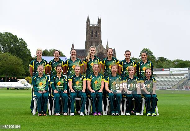The Australia squad pose for a picture before the 3rd Royal London ODI of the Women's Ashes Series between England and Australia Women at New Road on...