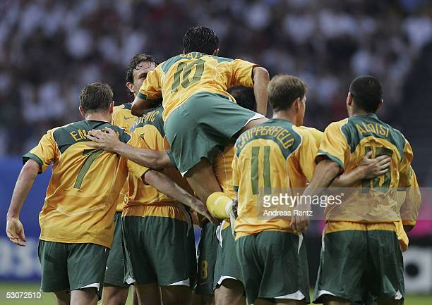 The Australia team celebrate after the second goal during the FIFA Confederations Cup 2005 match between Germany and Australia at the Waldstadion...