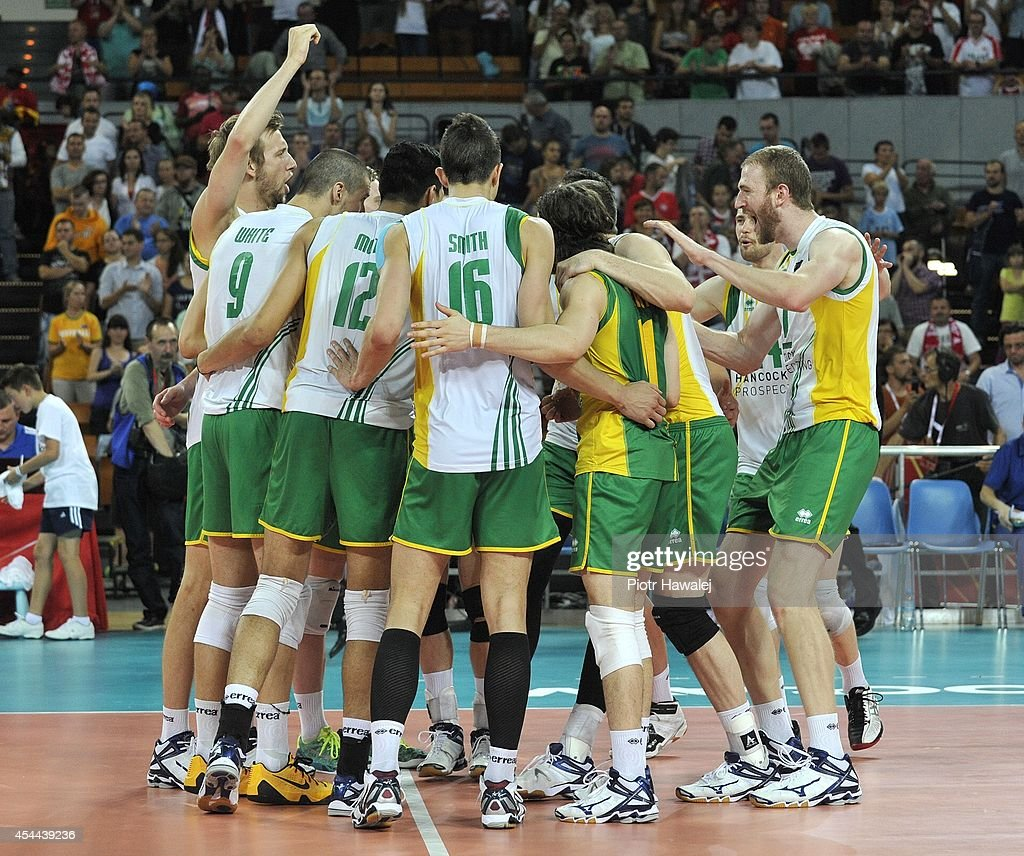 The Australia team celebrate after winning a match during the FIVB World Championships match between Cameroon and Australia on August 31, 2014 in Wroclaw, Poland.